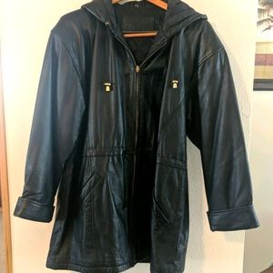 Leather hooded lined women's black coat size large